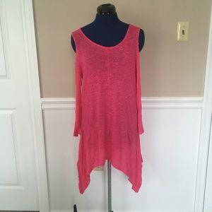 cupio womens xl hot pink dress cold shoulder cutou